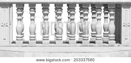 Close Up of Stone White Baluster With clipping path