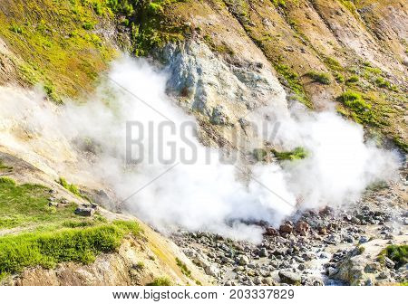 Geysers on the Mutnovsky volcano in Kamchatka Russia