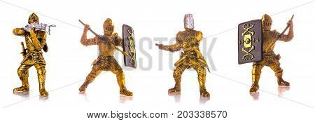 Set of figurine a medieval knightes isolated on white background