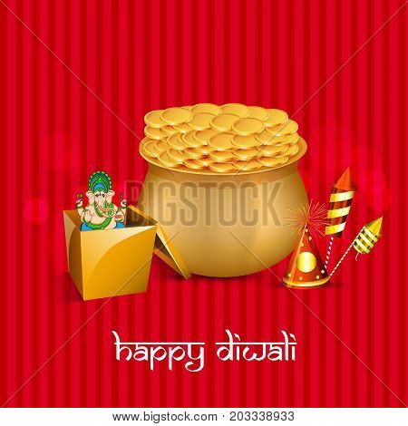 illustration of coins, gift, hindu god ganesh and fire cracker with Happy Diwali text on the occasion of Hindu festival Diwali