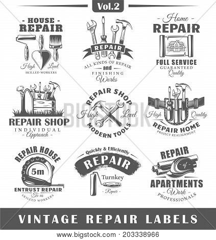 Set of vintage repair labels. Vol.2. Posters stamps banners and design elements. Vector illustration