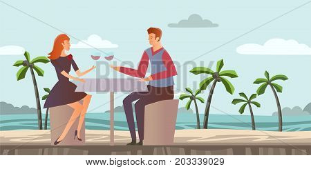 Young couple in love. Man and woman on a romantic date on a tropical beach with palm trees. Romantic dinner by the sea. Vector illustration.