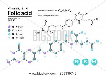 Structural chemical molecular formula and model of Folic acid. Atoms are represented as spheres with color coding isolated on background. 2d 3d visualization and skeletal formula. Vector illustration