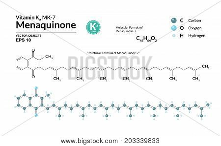 Structural chemical molecular formula and model of Menaquinone-7. Atoms are represented as spheres with color coding isolated on background. 2d 3d visualization. Skeletal formula. Vector illustration