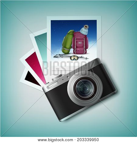 Vector compact photo camera with winter leisure snapshots top view isolated on white background