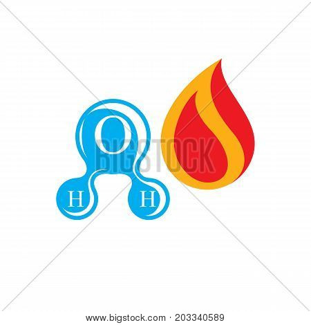 Composition of water and fire elements nature power H2O symbol