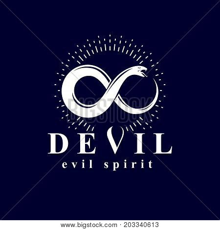 Vector snake symbol created in the shape of limitless. Evil spirit black graphic vector emblem