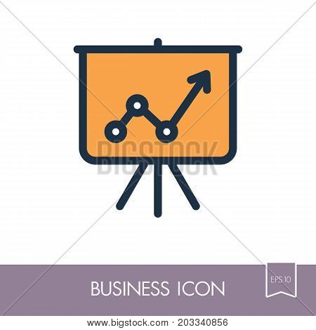 Flip-chart outline icon. Projection screen with a graph. Business sign. Graph symbol for your web site design logo app UI. Vector illustration EPS10.