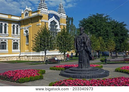 KISLOVODSK, RUSSIA - SEPTEMBER 06, 2017:A monument to St. Nicholas the Wonder-worker on Kurortnoy Boulevard,since 2016.A three-meter sculptural image adorns the resort town Kislovodsk.