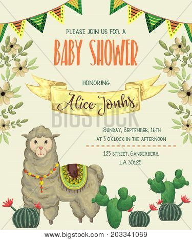 Baby shower invitation with llama animal, cacti and floral elements.. Cute cartoon character. Hand drawn vector illustration in watercolor style