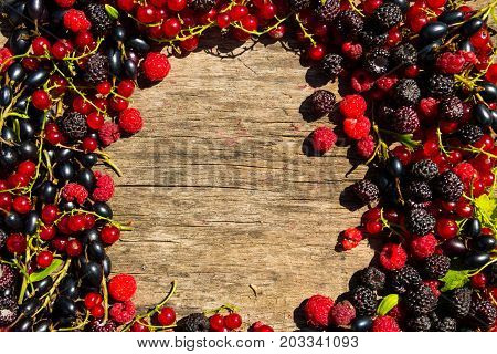 Summer Frame With Fresh Colorful Berries On Wooden Background