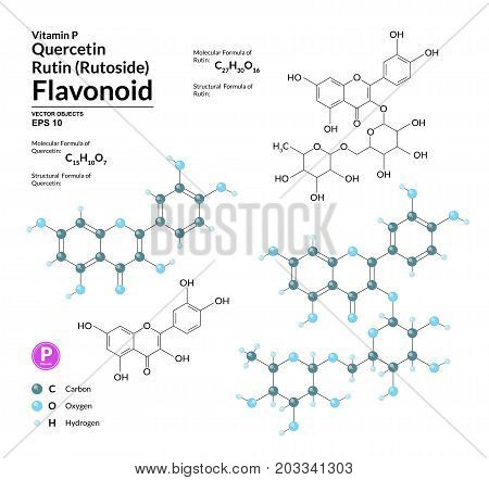 Structural chemical molecular formula and model of Rutin and Quercetin. Atoms are represented as spheres with color coding. 2d 3d visualization and skeletal formula. Vector illustration