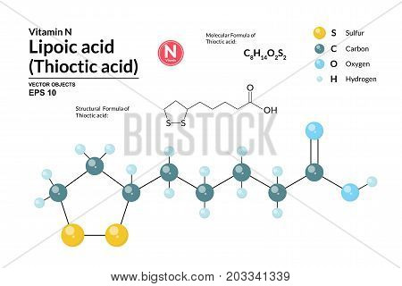 Structural chemical molecular formula and model of Lipoic acid. Atoms are represented as spheres with color coding isolated on background. 2d and 3d visualization and skeletal formula. Vector formula