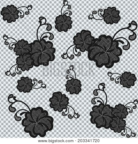 Seamless black lace fabric with flowers. Vector illustration.