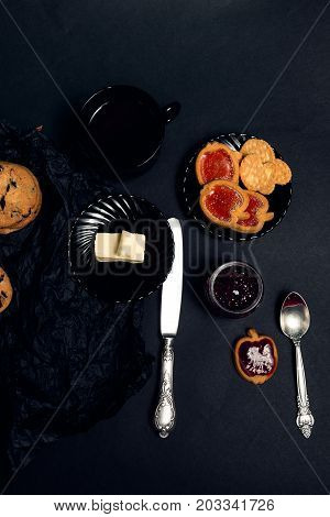 Cup Of Coffee With Chocolate Cookies And Biscuits On Black Table Background. Afternoon Break Time. B