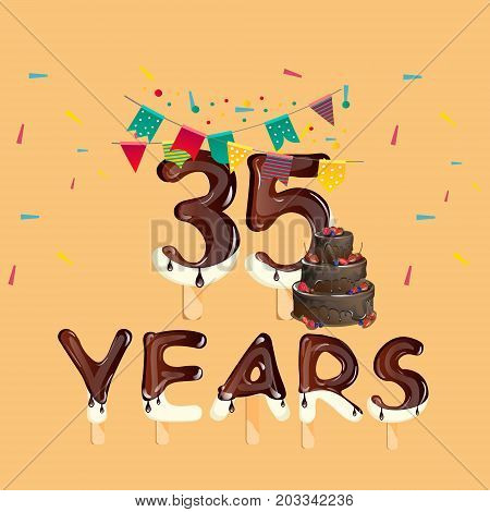 Happy Birthday thirty five year celebration greeting card