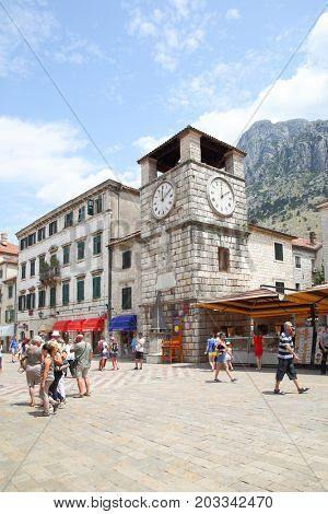 Kotor, Montenegro - June 15, 2017: Tower With Clock on Square of the Arms in Old town of Kotor