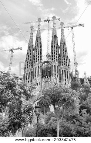 Barcelona, Spain - June 09, 2011: The La Sagrada Familia cathedral by Antoni Gaudi in Barcelona. Black and white image
