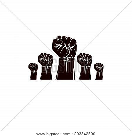 Raised clenched fists vector illustration. Revolution idea symbol can be used as tattoo no limits and restrictions concept.