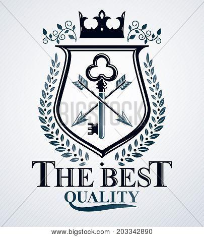 Vector emblem vintage heraldic design created with royal crown and laurel wreath