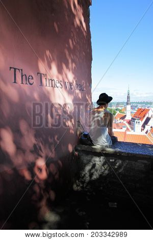 Talliin, Estonia - July 24, 2017:  Viewing point on Toompea Hill in Tallin and sentence