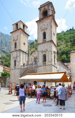 Kotor, Montenegro - June 15, 2017: People in the square near cathedral of St. Tryphon in Kotor, Montenegro