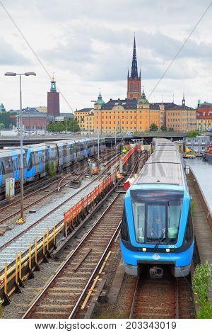 Stockholm, Sweden - July 25, 2017: Metro trains near Slussen station in Stockholm