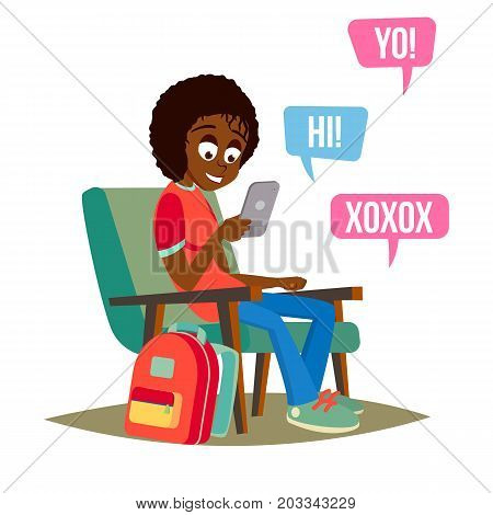 Teen Girl Vector. Young Teen Girl Smiling. Teens Chatting On Messenger. Flat Cartoon Illustration