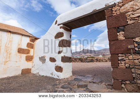 A rustic stone house on the island of Fuerteventura. Canaries. Spain