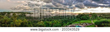 Panoramic Argentina Iguazu falls view with clouds