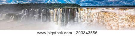 Panoramic view Argentina Iguazu falls close up