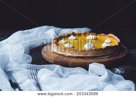 Pumpkin Pie On Chopping Block