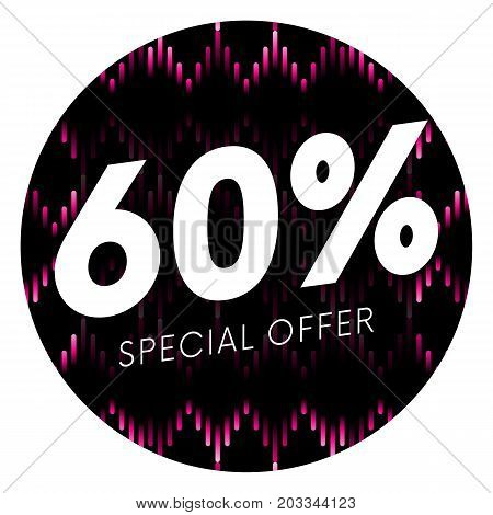 Special offer sixty percent text banner or sticker on musical dark background. Vector illustration.