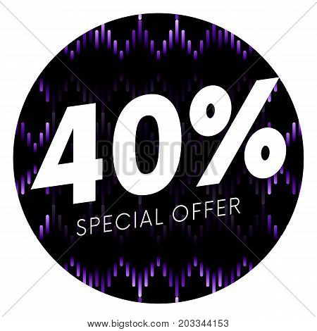 Special offer forty percent text banner or sticker on musical dark background. Vector illustration.