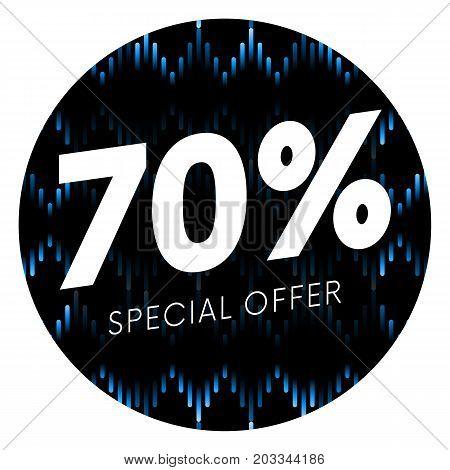 Special offer seventy percent text banner or sticker on musical dark background. Vector illustration.