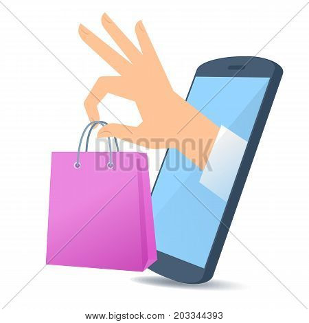 A human hand from the mobile phone's screen holds a market bag. Modern technology, smart phone apps, online shoping and e-commerce flat concept illustration. Vector design element isolated on white.