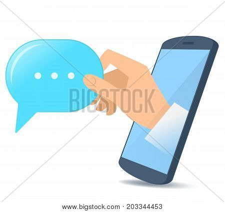 A human hand from the mobile phone's screen holds a speech bubble. Modern technology, smart phone apps, text mesage and communication flat concept illustration. Vector design element isolated on white