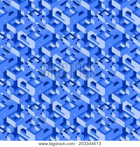 Abstract isometric seamless pattern. Stock vector endless geometric background.