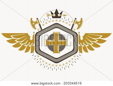 Heraldic sign made using vector vintage elements bird wings religious cross and armory.