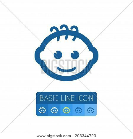 Child Vector Element Can Be Used For Kin, Child, Smiling Design Concept.  Isolated Smiling Infant Outline.