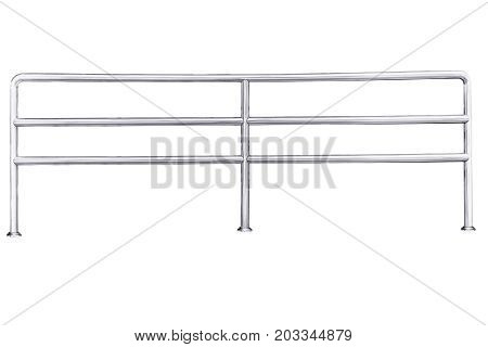 Stainless steel railing isolated on white with clipping path.