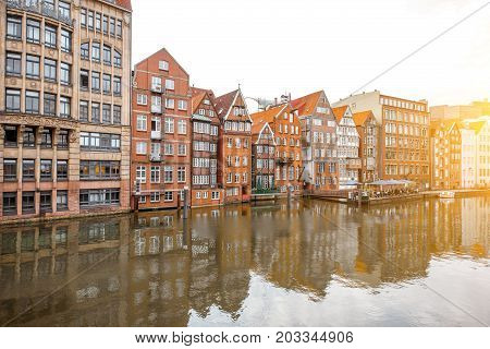 Sunset view on the old buildings in Cremon-Insel region of Hamburg city in Germany