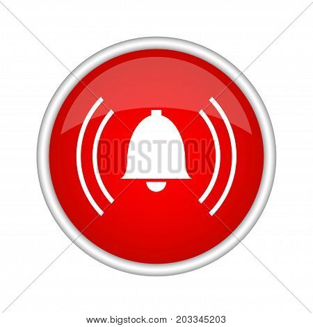 Alarm icon. Vector round red icon on white background.