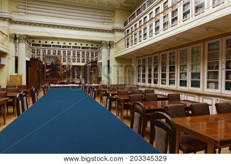 ST. PETERSBURG, RUSSIA - APRIL 25, 2017: Scientific and technical library of D.I. Mendeleyev Institute for Metrology. The institute was founded in 1842 as the Depot of Measures and Weights