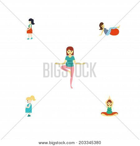 Flat Icon Pregnant Set Of Sport, Pregnant Woman, Yoga And Other Vector Objects