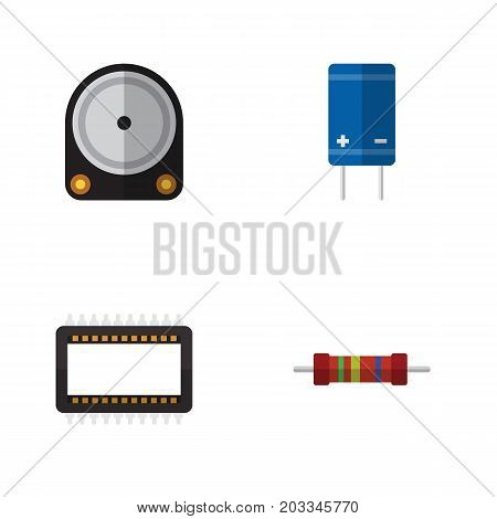 Flat Icon Device Set Of Mainframe, Resistance, Transistor And Other Vector Objects