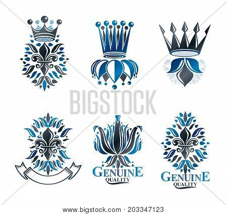 Royal symbols Lily Flowers floral and crowns emblems set. Heraldic vector design elements collection. Retro style label heraldry logo.