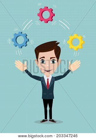 Man juggling with cog wheels, symbolizing strategic thinking, creativity. Vector illustration of a cartoon businessman.
