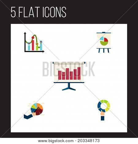 Flat Icon Chart Set Of Graph, Segment, Easel And Other Vector Objects