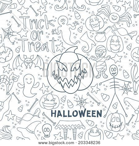 White Halloween vector seamless pattern. Endless line texture for wallpaper, web page background, wrapping paper, textile print. Flat style.